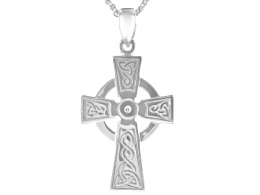 Sterling Silver Celtic Cross Pendant with 18 Inch Chain