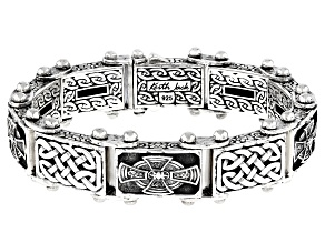 Sterling Silver Oxidized 18.50MM Celtic Cross Bracelet