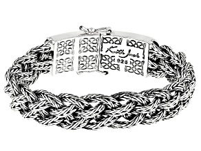 Sterling Silver 15MM Oxidized Dragon Weave Norse Forge Bracelet