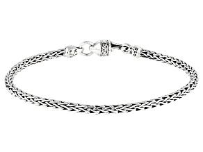 Sterling Silver 3.30MM Oxidized  Dragon Weave Bracelet