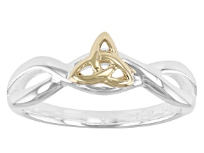 Sterling Silver and 10K Yellow Gold Tapered Infinity Knot Ring