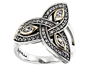 Sterling Silver and 10K Yellow Gold Accent White Cubic Zirconia Trinity Ring