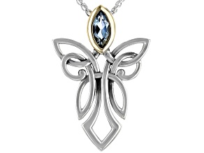 Sterling Silver and 10K Yellow Gold Angel Sky Blue Topaz Pendant With 18 Inch Chain