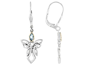 Sterling Silver with 10K Yellow Gold Accent Sky Blue Topaz Angel Earrings