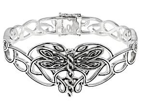 Sterling Silver Oxidized Dragonfly Bangle Bracelet