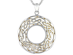 Sterling Silver and 22K Yellow Gold Large Round Pendant with 18 Inch Wheat Chain