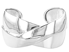 Rhodium Over Sterling Silver Crossover Mirror 7.25 Inch Cuff Bracelet