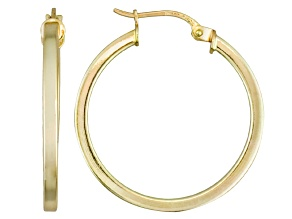 Pre-Owned Polished 18k Yellow Gold Over Sterling Silver Square Tube Hoop Earrings