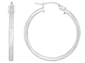 Pre-Owned Polished Sterling Silver Square Tube Hoop Earrings