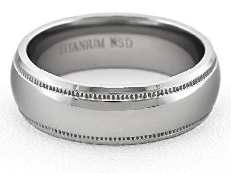 6mm Men's Polished Titanium With Etched Trim Comfort Fit Band