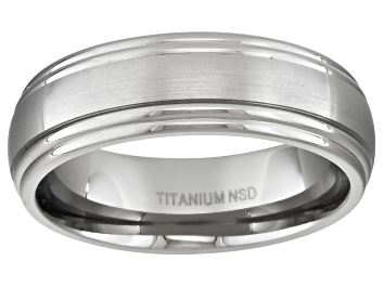 Picture of 6mm Men's Brushed Titanium With Polished Double Edge Band