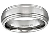 6mm Men's Brushed Titanium With Polished Double Edge Band
