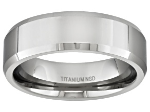 6mm Men's Polished Titanium Beveled Edge Comfort Fit Band