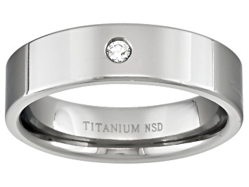 Picture of 4mm Mens Titanium With .03ctw Diamond Accent Flat Edge Band