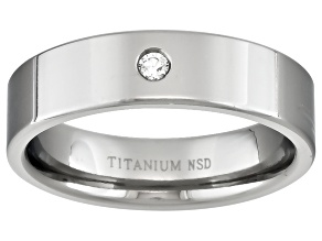 4mm Mens Titanium With .03ctw Diamond Accent Flat Edge Band