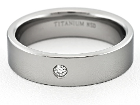 4mm Men's Titanium With .03ctw Diamond Accent Flat Edge Band
