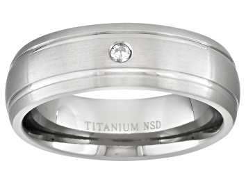 Picture of 6mm Men's Titanium With 0.05ctw Diamond Accent Comfort Fit Band Ring
