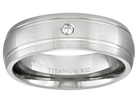 6mm Men's Titanium With 0.05ctw Diamond Accent Comfort Fit Band Ring