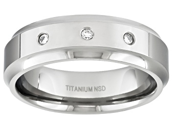 Picture of 6mm Men's Titanium With .10ctw Diamond Accent Beveled Edge Band