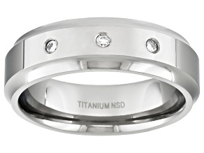 6mm Men's Titanium With .10ctw Diamond Accent Beveled Edge Band