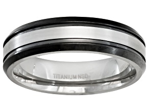 4mm Men's Titanium With Black Ion Plating And Silver Tone Stripe Band