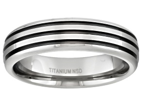4mm Men's Titanium With Black Ion Plated Accent Stripes Comfort Fit Band