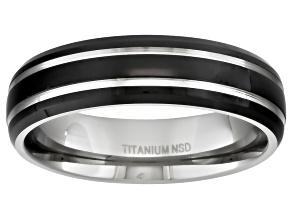 Men's Titanium With Black Ion Plating And Silver Tone Stripes Band