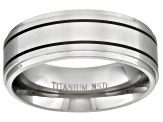 8mm Men's Titanium With Black Ion Plated Accent Stripes Band