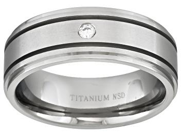 Picture of 8mm Men's Titanium With .05ctw Diamond Accent Band