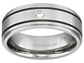 8mm Men's Titanium With .05ctw Diamond Accent Band
