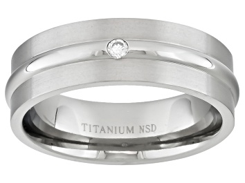 Picture of 6mm Men's Brushed Titanium With .05ctw Diamond Accent Band