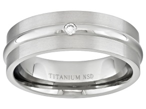 6mm Mens Brushed Titanium With .05ctw Diamond Accent Band