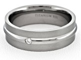6mm Men's Brushed Titanium With .05ctw Diamond Accent Band