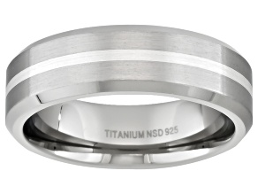6mm Men's Brushed Titanium With Sterling Silver Accent Stripe Band
