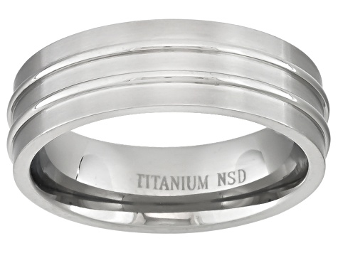 6mm Men's Brushed Titanium With Polished Raised Accent Rows Band