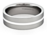 Men's Brushed Titanium With Sterling Silver Stripe Flat Edge Band