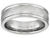Men's Titanium Mokume Pattern Polished Edge Comfort Fit Band