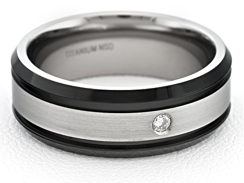 8mm Men's Black Ion Plated Titanium With 0.05ctw Diamond Accent Band