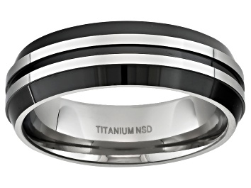 Picture of Men's Titanium With Black Ion Plating And Silver Tone Stripes Band