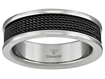 Picture of 6mm Men's Titanium With Black Ion Plating And Wire Mesh Inlay Band