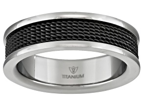 6mm Men's Titanium With Black Ion Plating And Wire Mesh inlay Band