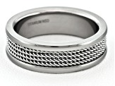 6mm Polished Titanium With Wire Mesh Center inlay Comfort Fit Men's Band