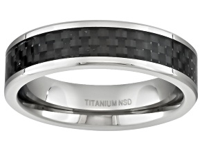 6mm Men's Titanium With Black Carbon inlay And Polished Edge Band