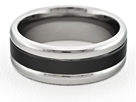 8mm Men's Titanium With Black Enamel inlay And Polished Edge Ring