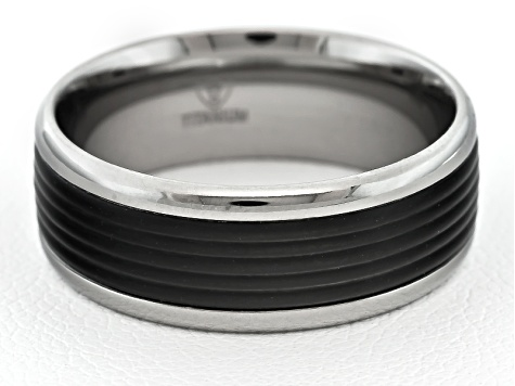 8mm Men's Titanium With Black Enamel Grooved Inlay Band