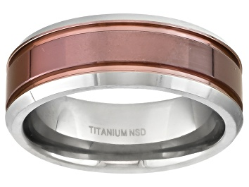 Picture of 8mm Men's Titanium With Ion Plated Center Comfort Fit Band Ring