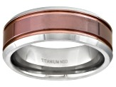 8mm Men's Titanium With Ion Plated Center Comfort Fit Band Ring