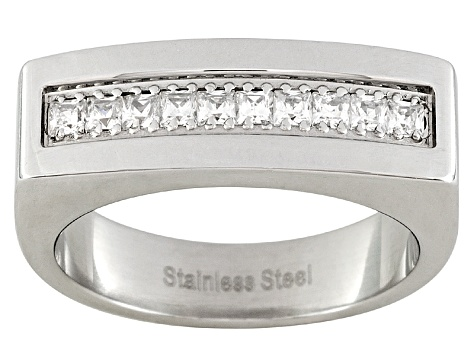 d69eff8cb0563 Men's Stainless Steel With 0.9ctw Diamond Simulant Square Shoulder Ring