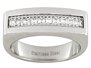 Men's Stainless Steel With 0.9ctw Diamond Simulant Square Shoulder Ring