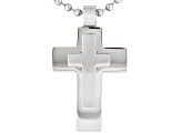 Men's Stainless Steel Polished Satin Layered Cross Pendant With Chain